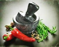 Épices, herbes et mortier avec le pilon Photo libre de droits