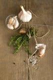 Épices (l'ail, le thym, voient le sel, les grains de poivre noirs) Image libre de droits