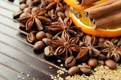 Épices parfumées, café, sucre orange et tubulaire sec Photos stock