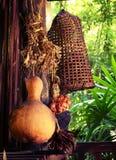 Épices, piège en bambou en osier de poissons, cuisine avec dans le style de la Thaïlande Photographie stock libre de droits