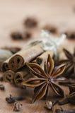 Épices Plan rapproché des bâtons de cannelle, des étoiles d'anis et des clous de girofle sur W Photo libre de droits