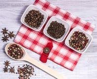 Épices, poivre amer et doux, anis d'étoile Photo stock