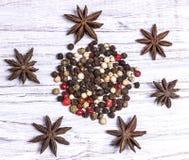 Épices, poivre amer et doux, anis d'étoile Photographie stock libre de droits