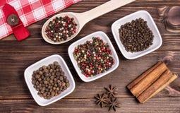 Épices, poivre amer et doux, anis d'étoile Images stock