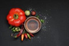 Épices : poivron rouge, cuvette d'huile, tomates vertes, sel sur le fond en bois noir Image stock