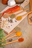 Épices sèches et fraîches d'assaisonnement - Image stock