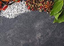 Épices sur le fond noir en pierre Condiments sur une table foncée Image stock