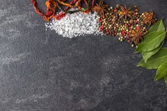Épices sur le fond noir en pierre Condiments sur une table foncée Photos stock
