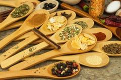 Épices sur les cuillères en bois Ventes des épices exotiques Nourriture d'assaisonnement Épices aromatiques Image stock