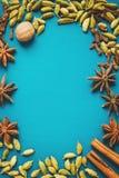 Épices sur une table bleue Photographie stock