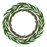 Épillets de blé de guirlande et feuille de Green Bay, texte écrit de main Guirlande ronde de malt avec l'espace pour le calibre d Photo libre de droits