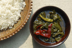 Épinards de Haak Cachemire avec du riz de l'Inde Image libre de droits
