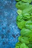 Épinards frais de bébé sur un backround bleu Images stock