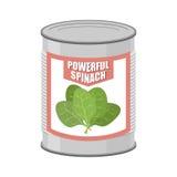 Épinards puissants Épinards en boîte Pot de mise en boîte avec le congé de laitue Photographie stock libre de droits