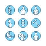 Épine, ligne icônes d'épine dorsale Clinique d'orthopédie, réadaptation médicale, traumatisme arrière, os cassé, correction de po illustration stock