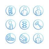 Épine, ligne plate icônes d'épine dorsale Clinique d'orthopédie, réadaptation médicale, traumatisme arrière, os cassé, correction illustration libre de droits