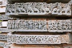 Épisode de Ramayana Couronnement du ` s de Rama Temple de Kedareshwara, Halebidu, Karnataka Photo libre de droits