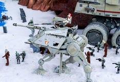 Épisode III Kashyyyk et Mustafar, San Diego de Miniland de Star Wars de Legoland photos stock