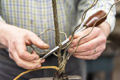 Épissure d'oeil de câble métallique de calage photographie stock libre de droits