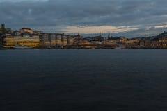 Época crepuscular de la ciudad vieja Foto de archivo