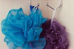 Éponge bleue accrochant sur un crochet Photos stock