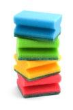 Éponges de couleur de vaisselle sur un fond blanc Images libres de droits