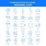 Épousant des icônes d'amour - paquet bleu de 25 icônes de Futuro illustration de vecteur