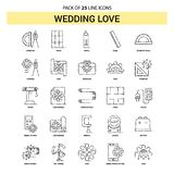 Épousant la ligne d'amour ensemble d'icône - style à tiret d'ensemble 25 illustration de vecteur