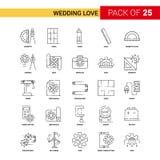 Épousant la ligne noire icône - ensemble d'amour d'icône d'ensemble de 25 affaires illustration de vecteur