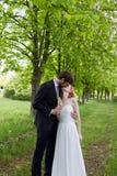 Épousant le baiser les jeunes mariés Photos stock