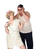 Épouse écoutant la musique image libre de droits