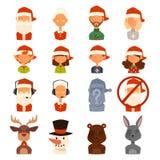 Épouse de famille de Santa Claus, avatars de vecteur d'enfants Photos libres de droits