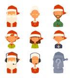 Épouse de famille de Santa Claus, avatars de vecteur d'enfants Photographie stock libre de droits