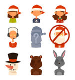 Épouse de famille de Santa Claus, avatars de vecteur d'enfants Images stock