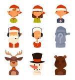 Épouse de famille de Santa Claus, avatars de vecteur d'enfants illustration stock