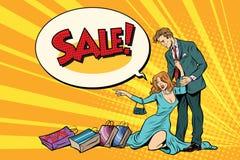 Épouse et mari en vente illustration stock