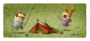 Épouse fâchée criant à son mari qui biseautent l'ensemble une tente illustration de vecteur
