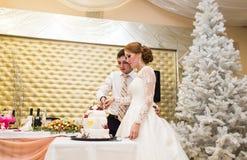 Épouser dans Noël Jeunes mariés mangeant le gâteau à la réception Image libre de droits