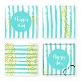 Épouser des confettis de scintillement sur des rayures, ensemble d'invitation illustration stock