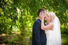 Épouser des couples dans des feuilles vertes Image stock