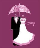 Épouser des jeunes mariés de douche Photos stock