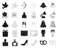 Épouser et attributs noircissent, les icônes monochromes dans la collection d'ensemble pour la conception Actions de symbole de v illustration de vecteur
