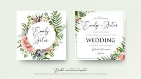 Épouser floral invitent le design de carte d'invitation avec le rose de lavande Image stock
