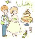 Épouser l'ensemble avec des nouveaux mariés Photo libre de droits