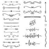Épouser l'ensemble d'éléments graphique floral, diviseurs, laurier Conception décorative d'invitation illustration libre de droits
