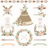 Épouser l'ensemble floral de tribal de tipi illustration libre de droits