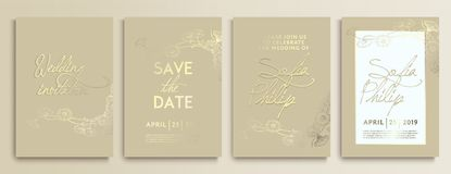 Épouser l'invitation avec des fleurs sur la texture d'or la carte l'épousant de luxe sur des milieux d'or, les couvertures artist illustration libre de droits