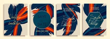 ?pouser l'invitation avec les fleurs bleues sur la texture d'or carte de luxe, texture acrylique color?e Invitation l'?pousant de illustration stock