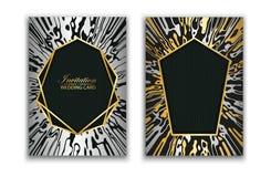 Épouser l'invitation de carte d'élite enclenchement Texture abstraite de marbre Fond de configuration de vecteur Or et cadre géom illustration libre de droits