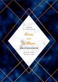 Épouser la carte d'invitation avec le cadre de marbre, lignes d'or sur le fond bleu-foncé Le calibre magique de conception de nui illustration de vecteur